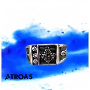 Masonic Ring, 950K Solid Sterling Silver, Master M...