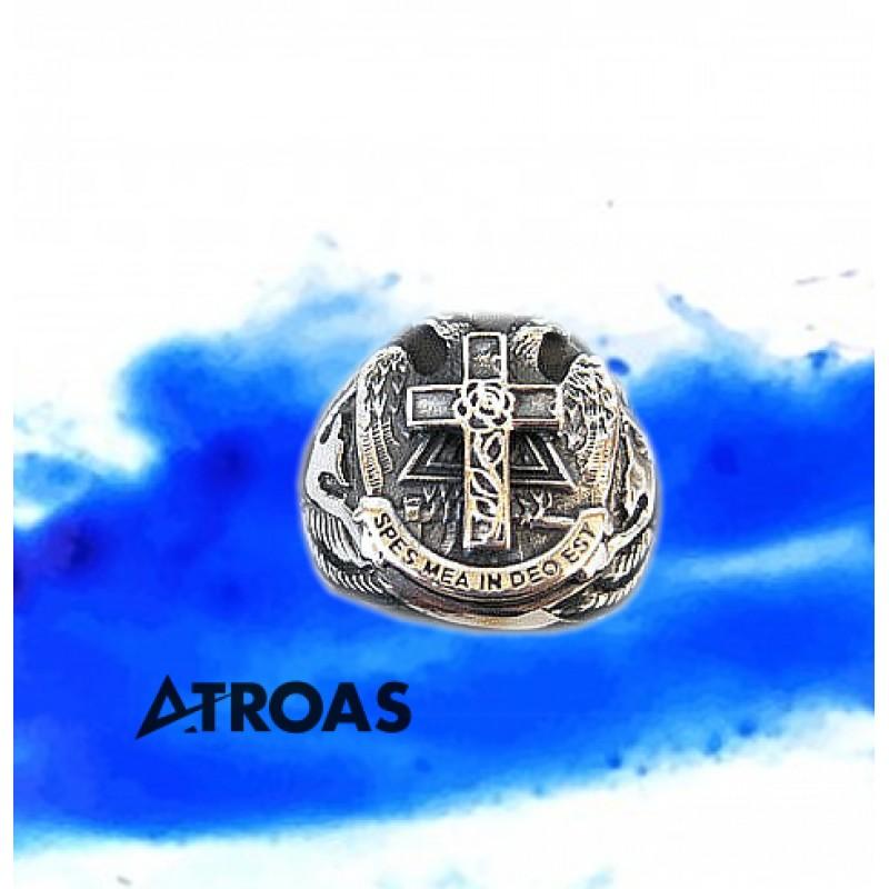 Masonic Scottish Rite Ring, 950K Solid Sterling Silver, 18th Degree