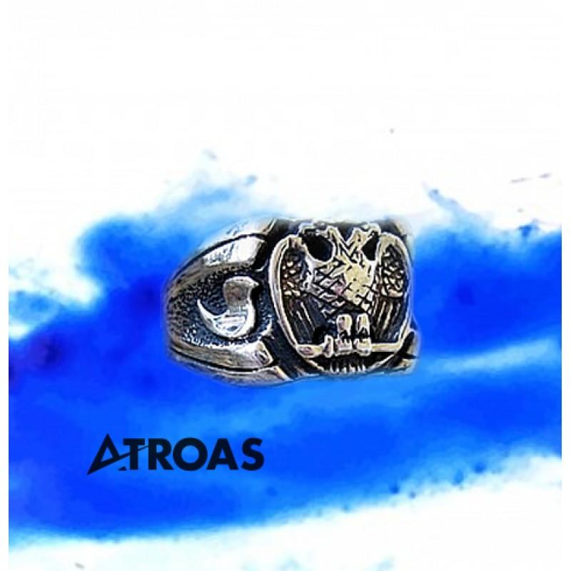 Masonic Scottish Rite Ring, 950K Solid Sterling Silver, 32nd Degree
