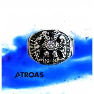 Masonic Scottish Rite Ring, 950K Solid Sterling Si...