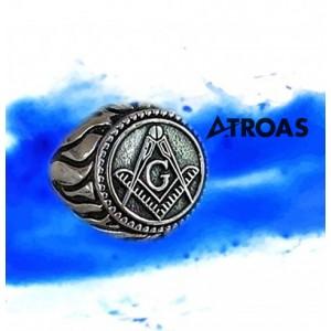 Masonic Ring, 950K Solid Sterling Silver, Blue Lod...