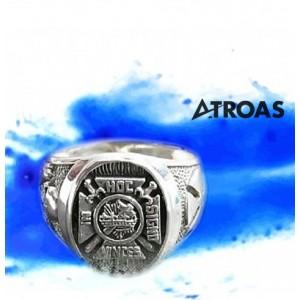 Masonic York Rite Ring, 950K Solid Sterling Silver...