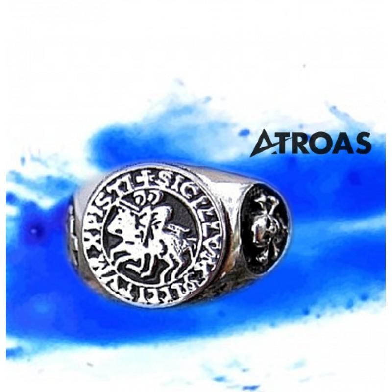 Masonic York Rite Ring, 950K Solid Sterling Silver, Knights Of Templar
