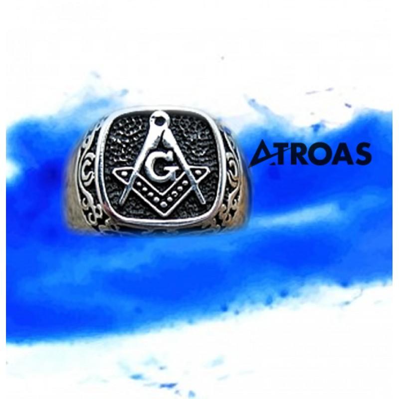 Masonic Ring, 950K Solid Sterling Silver, Blue Lodge, Freemasonry